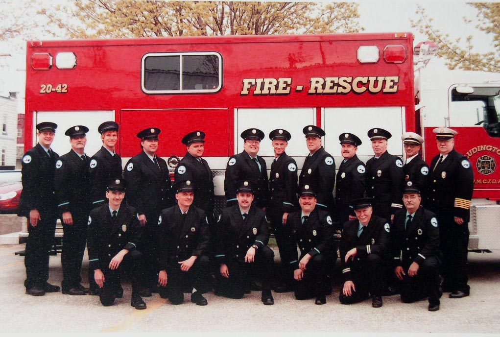 Front Row: left to right:  Steve Johnson, Leo Lindbloom, Tom Rotta, Mike Gezequel, Jeremy Bray, John Henderson, Andy Larr, John Healy,Lieutenant, Bruce Pelletier, Lieutenant, Gary Lange,Captain, Ron Jabrocki, Assistant Chief,  Gerry Funk, Chief Back Row: